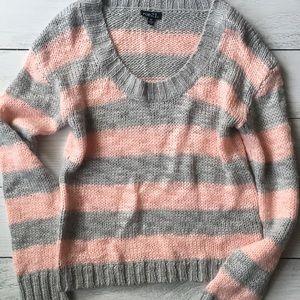 Soft pink + grey-striped sweater